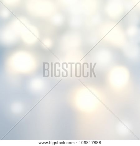 Beautiful Christmas Background With Silver Lights And Stars. Abstract Festive Lights White And Grey
