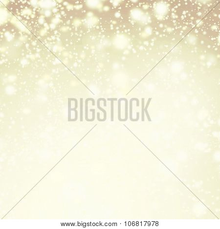 Gold Sparkles - Christmas Defocused Lights Background With Winter Snow Flakes
