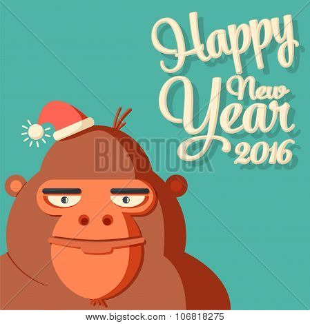 New year card with symbol - monkey and caligraphy 2016.