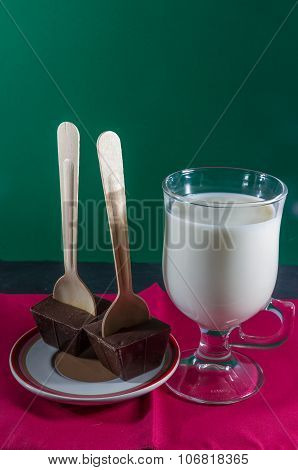 Two Belgian Chocolate Stirrers By Mug Of Milk.