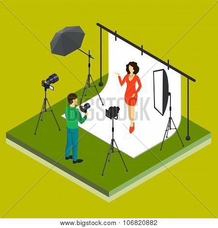 Photographer Shooting Model in Studio