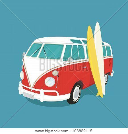 Van surf retro illustration