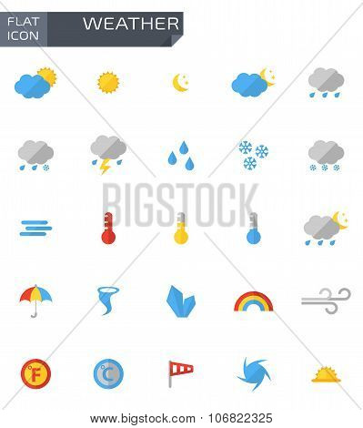 Vector Flat Weather Icons Set