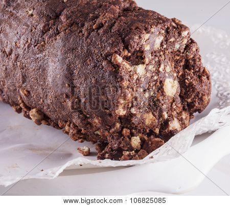 Chocolate Salami Over White