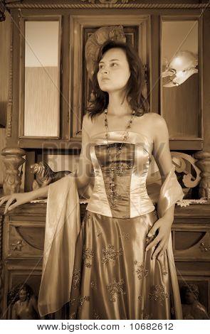 Brunette Girl In Vintage Flat