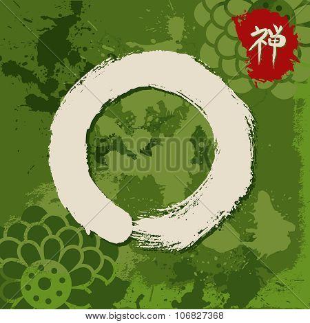 Green Zen Circle Illustration Traditional Enso