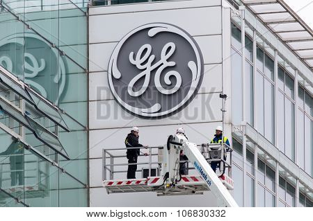 BADEN, SWITZERLAND. November 2nd, 2015. The new General Electric logo has been installed at the former Alstom thermal power headquarters after successful merger and acquisition.