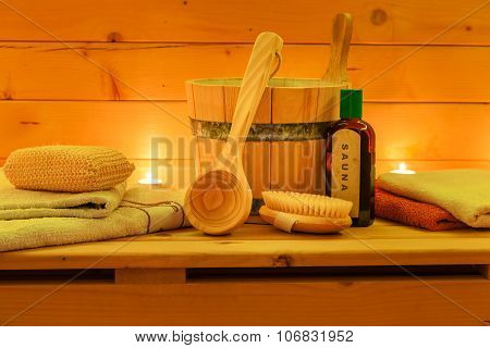 Interior of Wooden Sauna and Sauna Set
