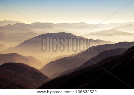 Scenic View Of Misty Autumn Hills And Mountains In Slovakia
