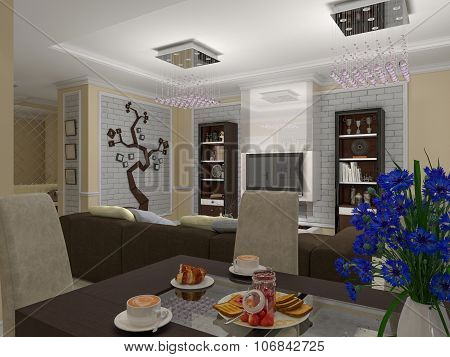 3D Illustration Of A Drawing Room And Kitchen In Style Eclecticism In Beige And Brown Tones