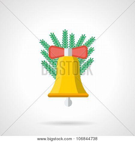 Yellow Xmas handbell flat color vector icon