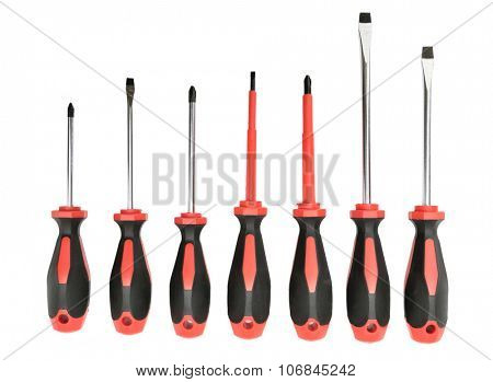 set screwdrivers isolated on a white