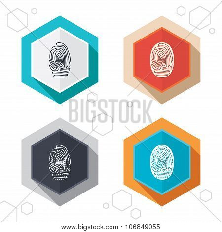 Hexagon buttons. Fingerprint icons. Identification or authentication symbols. Biometric human dabs signs. Labels with shadow. Vector poster