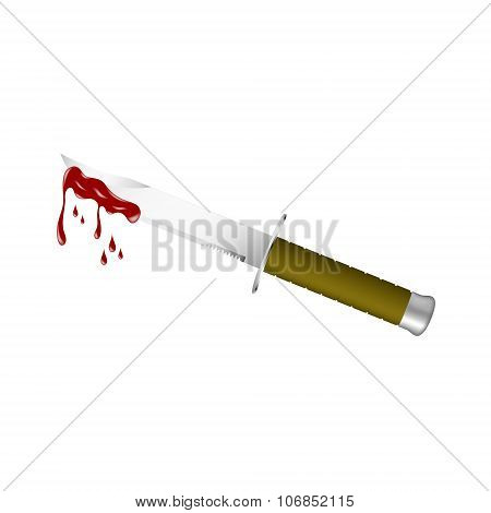 Knife with dark brown handle and bloody blade on white background poster