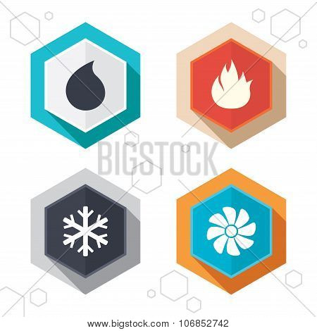 Hexagon buttons. HVAC icons. Heating, ventilating and air conditioning symbols. Water supply. Climate control technology signs. Labels with shadow. Vector poster