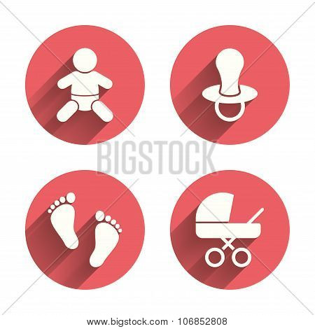 Baby infants icons. Toddler boy with diapers symbol. Buggy and dummy signs. Child pacifier and pram stroller. Child footprint step sign. Pink circles flat buttons with shadow. Vector poster