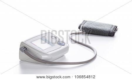 Digital Blood Pressure Monitor Closeup On White