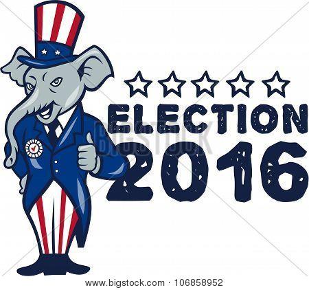 Us Election 2016 Republican Mascot Thumbs Up Cartoon