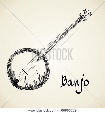 Musical background. Banjo