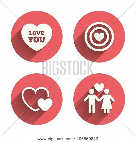 Valentine day love icons. Target aim with heart symbol. Couple lovers sign. Pink circles flat buttons with shadow. Vector poster