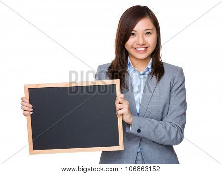 Aisan Businesswoman show with chalkboard