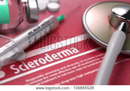 Scleroderma. Medical Concept on Red Background.