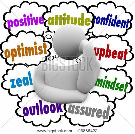 Positive attitude words in thought clouds around a thinker or thinking person including optimist, outlook, upbeat and mindset