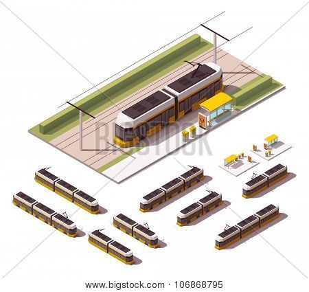 Isometric set representing tramway in different views