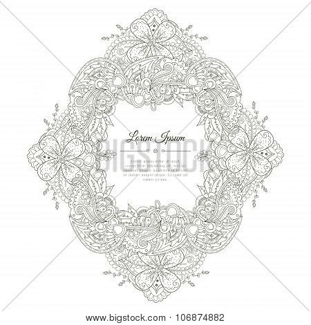 Black And White Hand Drawn Floral Doodle Frame.