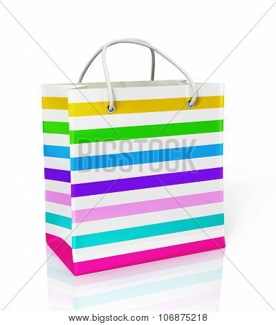 Multi-color Paper Bag For Purchases On A White Background.