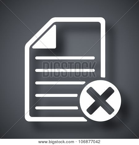 Vector document icon with delete or abort glyph poster