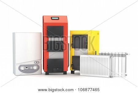 Set Of Heating System Objects. Solid Fuel Boiler, Boiler And Radiators For Heating On White Backgrou