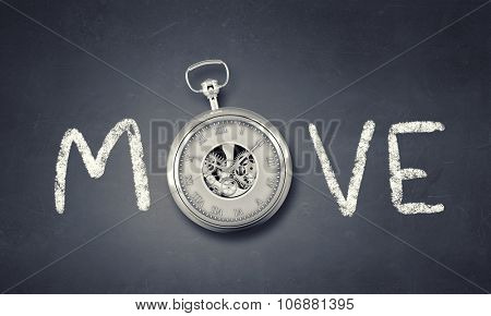 Conceptual image with word move and pocket watch instead of letter