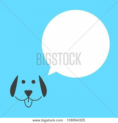 black dog with white speech bubble
