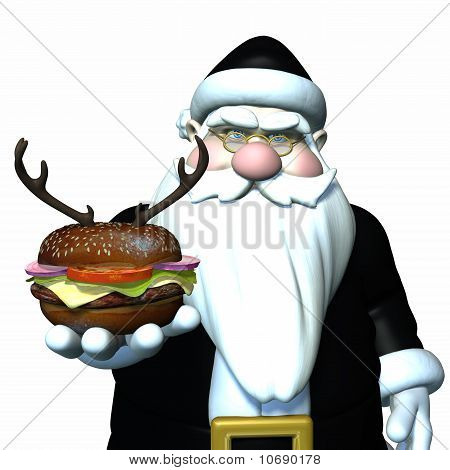 Santa wearing a black latex suit and holding a reindeer burger. Bah Humbug Isolated. Bah Humbug poster