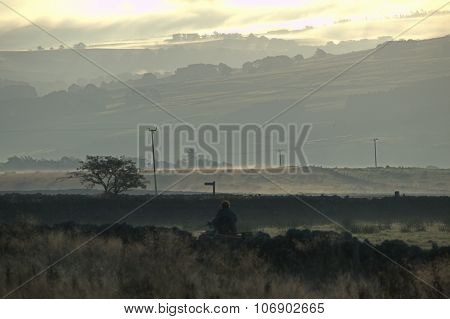 An Early misty scene in Northumberland UK poster