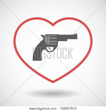 Line Hearth Icon With A Gun