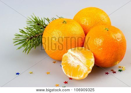 Mandarin With Spruce Isolated. Christmas Decorations