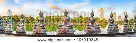 Seema Malaka temple on Beira Lake. Colombo, Sri Lanka. Panorama