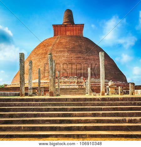 Jetavanaramaya dagoba in the ruins of Jetavana in the sacred world heritage city of Anuradhapura, Sri Lanka