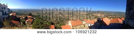 background panoramic view of the landscape of the village of Monsanto, in Portugal