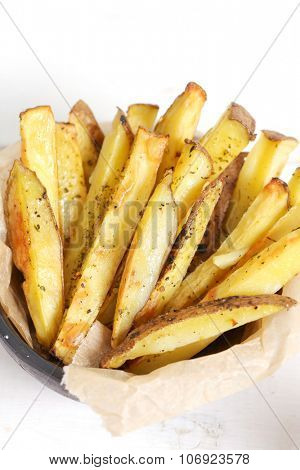 Fast food. French fries on the table