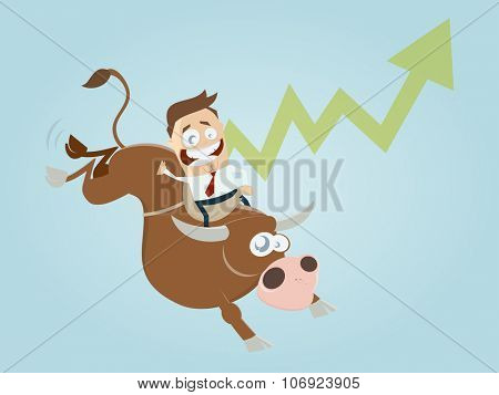 funny boom cartoon with man and bull poster
