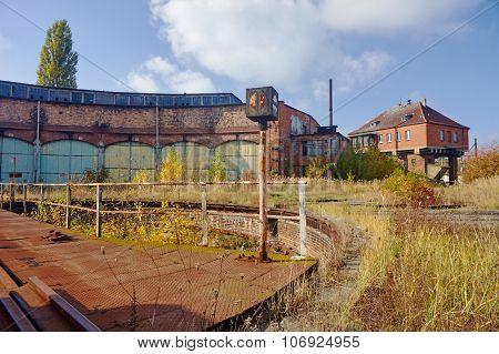 Brick building abandoned roundhouse