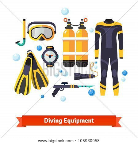Diving equipment icons set