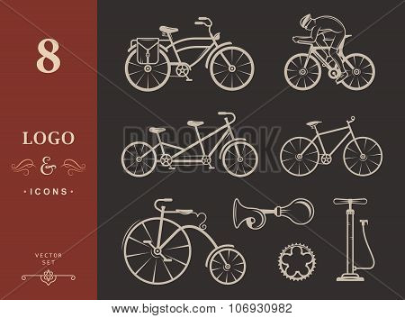 Set Vintage Sign And Silhouette Bicycle And Cycling Sport