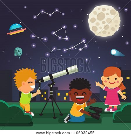 Kids making telescope astronomical observations