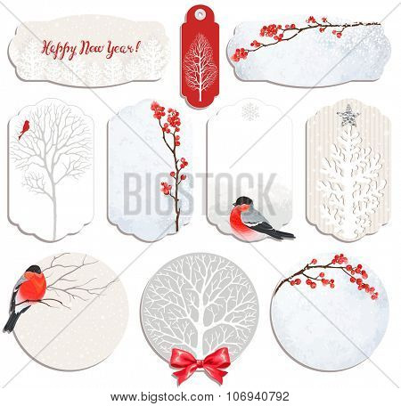 Christmas Collection of labels and cards with winter red berries, trees and bullfinches.