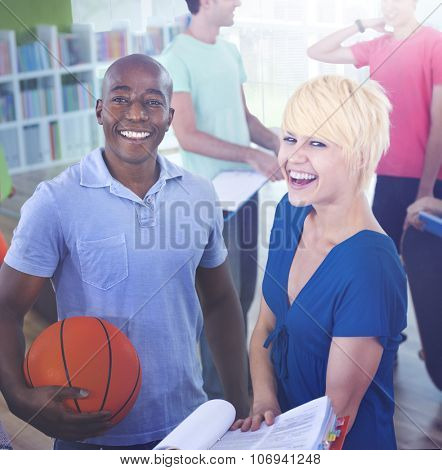 Group of Student in University Basketball Sportman Concept