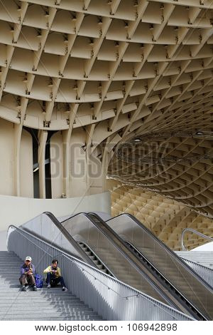 Waiting at the Metropol Parasol of Seville